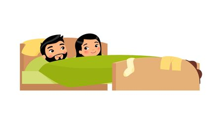 Asian young couple smiling in bed. Clothes are scattered. Satisfied man and woman. Happy married couple. Sexual relations concept . Colorful vector illustration in flat cartoon style.
