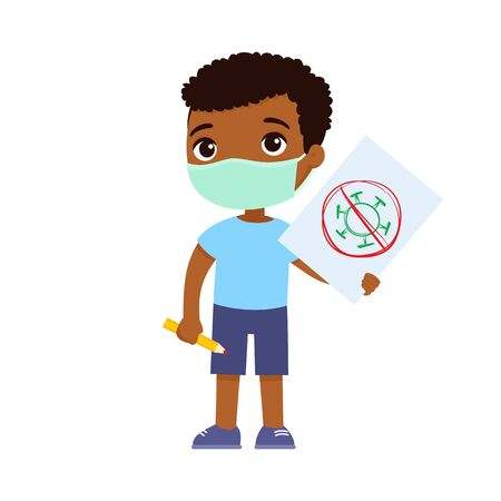 Little african boy with medical mask holding paper sheet with virus image. Cute schoolkid with image and pencil in hands isolated on white background. Virus allergies concept.