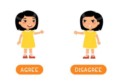 Educational word card with opposites. Antonyms concept, AGREE and DESAGREE.  Flash card for English studying. Little asian girl showing thumbs up, thumb down. Flat vector illustration with typography