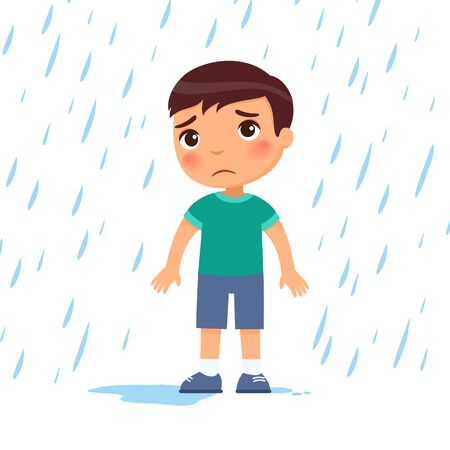 Unhappy boy under rain flat vector illustration. Sad preteen child in bad rainy weather. Caucasian kid with dark hair getting wet under downpour. Isolated cartoon character on white background