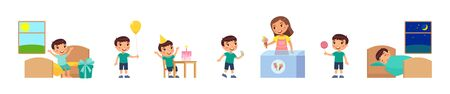 Birthday of little boy. Concept of children's holiday, pocket money. Joyful child receives gift, eats cake, buys sweets, holds balloon, sleeps happy. Cartoon characters, set of flat vector illustrations