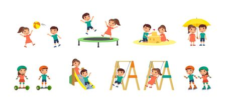 Little boy and girl plays in the playground. Concept of summer entertainment and friendship. Children play different summer games.  Sport and recreation. Cartoon characters, flat vector illustration set.