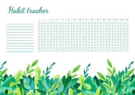 Habit tracker for month template. Tropical leaves themed blank, personal organizer with decorative frame. Jungle plants, palms. Border with stylized lettering Фото со стока
