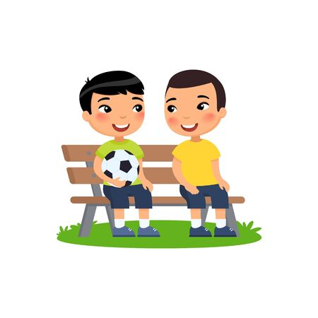 Two little asian boys with soccer ball sit on bench. Summer holidays, recreation, sports, hobbies. Vector flat illustration. Children cartoon characters isolated on white background.
