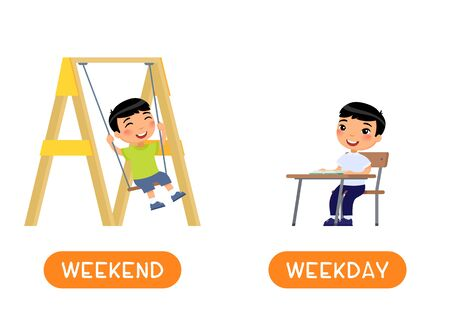 Educational word card with opposites. Antonyms concept, WEEKDAY and WEEKEND. Flash card for English studying. Little asian boy sits at school desk, joyful boy swinging on a swing. Flat illustration with typography