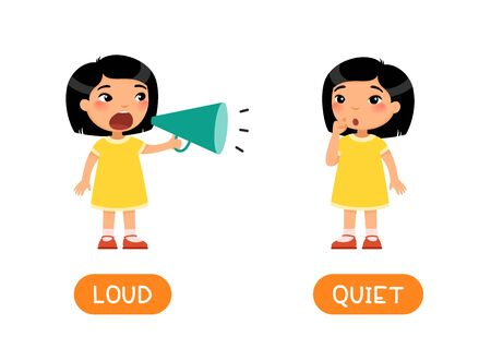 Educational word card with opposites. Antonyms concept, LOUD and QUIET. Flash card for English studying. Little asian girl screams loudly into megaphone, the child whispers softly. Flat illustration with typography
