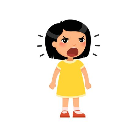 Little asian girl screams out loud, clenching her hands into fists. Angry female child standing cartoon character. Ð¡hild shows bad behavior. Disorder of the child's psyche. Flat vector illustration, isolated on white background