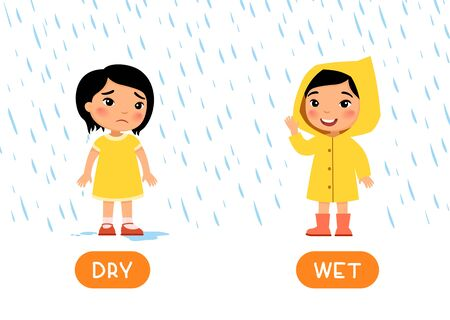 Educational word card with opposites. Antonyms concept, WET and DRY. Flash card for English studying. Little asian girl is standing with raincoat in the rain and smiling, girl without raincoat is wet and sad. Flat illustration with typography Vecteurs