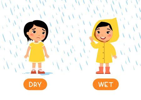 Pädagogische Wortkarte mit Gegensätzen. Antonyme Konzept, NASS und TROCKEN. Flash-Karte für Englisch lernen. Kleines asiatisches Mädchen steht mit Regenmantel im Regen und lächelt, Mädchen ohne Regenmantel ist nass und traurig. Flache Illustration mit Typografie Vektorgrafik