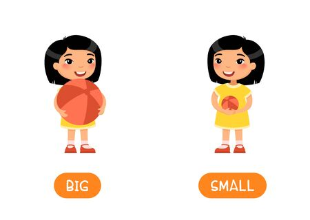 BIG and SMALL antonyms word card vector template. Flashcard for english language learning. Opposites concept. Little asian girl holding big and small ball in her hands. Illustration with typography