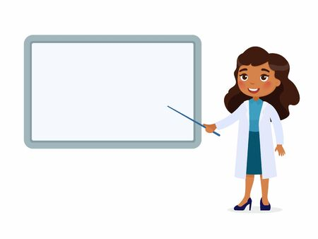 A smiling dark skin female doctor points to an empty medical demonstration board. Doctor in a white coat character. Vector illustration on a white background.