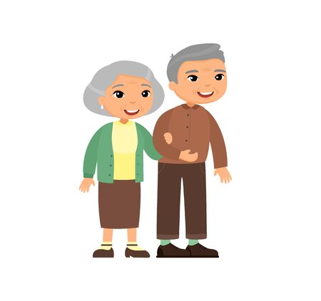 Old asian couple. Senior couple smiling and walking together. Elderly woman holds arm of elderly man. Happy married life concept. Vector illustration Vettoriali