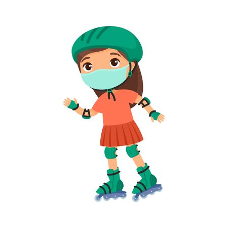 Little sportswoman with a protective mask. Virus protection, allergies concept. Cute little girl roller skating  cartoon character. Recreation and leisure.