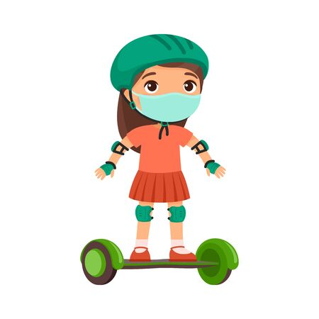 Little sportswoman with a protective mask. Virus protection, allergies concept. Cute little girl riding self balancing board cartoon character. Child with modern electric transport.