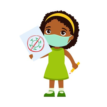 Little dark skin girl with medical mask holding paper sheet with virus image. Cute schoolkid with image and pencil in hands isolated on white background. Virus protection concept. Ilustrace