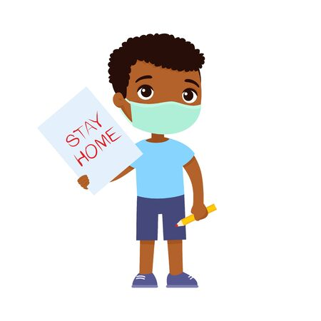Little dark skin boy with face mask holding paper sheet with