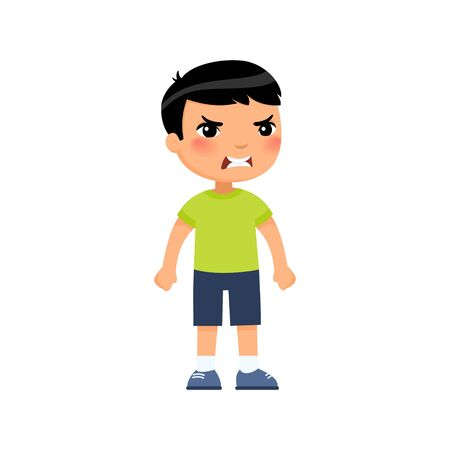 Angry little asian boy flat vector illustration. Furious child, aggressive kid cartoon characters. Kid with mad face expression isolated on white background
