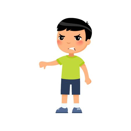 Little asian boy showing thumb down gesture flat vector illustration. Upset child standing alone cartoon character. Person negative emotion, disagreement expression isolated on white background