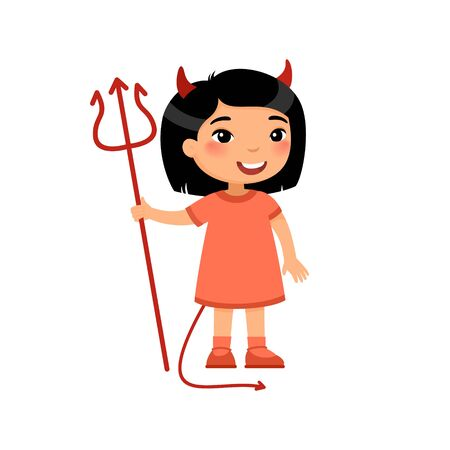Little asian girl wearing devil costume flat vector illustration. Child dressed like red demon cartoon character. Kid clothed as spooky monster. Halloween costume party, trick or treat design element
