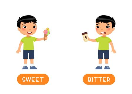 Taste concept, BITTER and SWEET. Educational word card with opposites vector template. Foreign language flash card with cute asian boy. Child with ice cream and coffee flat illustration with typography