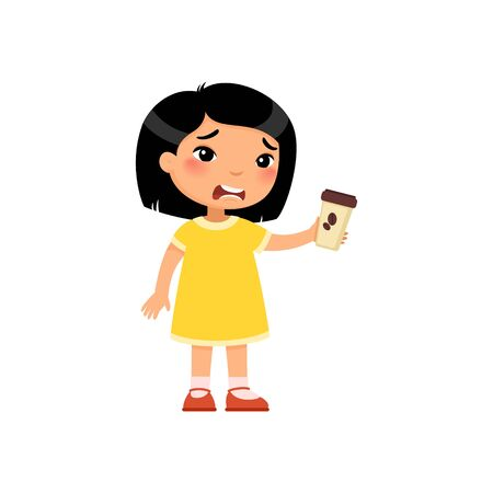 Little asian girl with takeaway coffee flat vector illustration. Cute kid with hot beverage cartoon character. Unhappy child holding paper cup with bitter energy drink isolated on white background