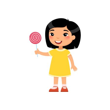 Cute asian girl with sweet pink candy flat vector illustration. Happy child with sweet dessert cartoon character. Little kid holding lollipop isolated on white background Ilustrace