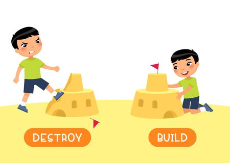 Antonyms concept, BUILD and DESTROY. English language educational flash card vector template. Word card with opposites. Little asian boy constructing and ruining sand castle flat illustration with typography