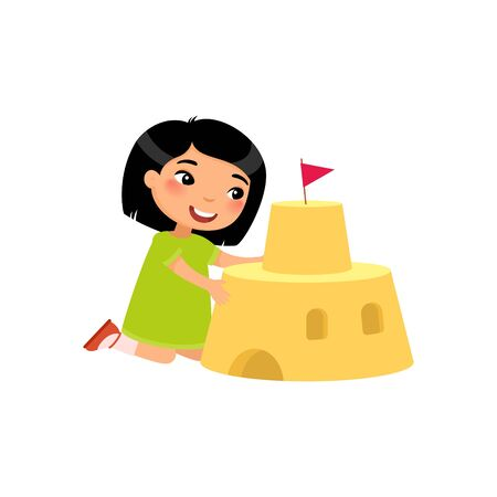 Cute child building sand castle flat vector illustration. Funny kid playing on beach cartoon character. Asian girl constructing sandy fortress isolated on white background. Summer recreation activity