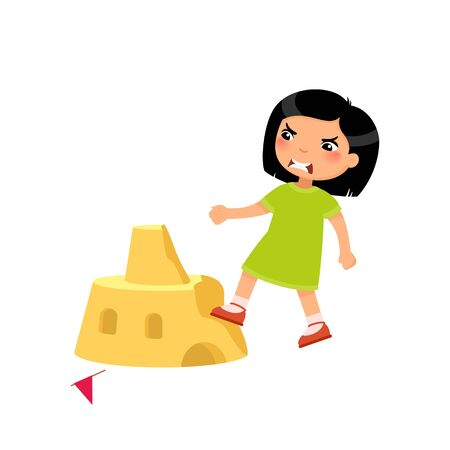 Angry asian girl destroying sandcastle flat vector illustration. Little kid breaking beach fortress cartoon character. Cruel child ruining sand tower isolated on white background. Violence concept Ilustrace
