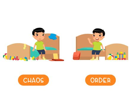 Opposites concept, CHAOS and ORDER. Childish word card for English learning vector template. Flashcard with antonyms. Little asian boy in tidy and messy bedroom flat illustration with typography
