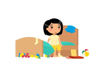 Upset kid in messy bedroom flat vector illustration. Little asian girl in dirty apartment cartoon character. Unhappy child in unkempt room isolated on white background. House chores, cleanup