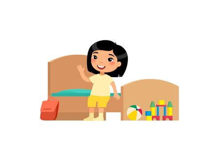 Little asian girl in clean bedroom flat vector illustration. Cute kid sitting on bed in tidy room cartoon character. Neat child in organized interior isolated on white. House cleanup and hygiene Ilustración de vector