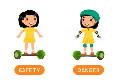 Antonyms concept, SAFETY and DANGER. Flashcard with antonyms for kids vector template. Word card for foreign language studying. Cute asian girl with gyroscooter flat illustration with typography