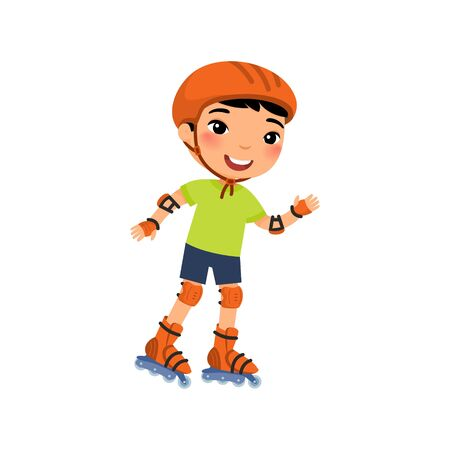 Little asian sportsman with roller skating flat vector illustration. Cute little boy self balancing roller skate cartoon character. Recreation and leisure concept Ilustrace