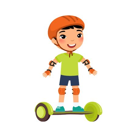Little sportsman with gyro scooter flat vector illustration. Cute kid riding self balancing board cartoon character. Little asian boy with modern electric transport. Recreation and leisure concept