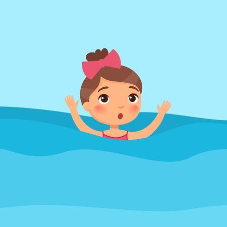 Ilustración de vector plano de natación de niña asustada. Niño hundiéndose, agitando las manos y pidiendo ayuda en el mar. Peligro en el agua. Niño en traje de baño aprendiendo a nadar personaje de dibujos animados sobre fondo azul.