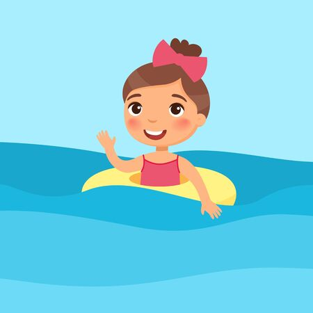 Girl swimming with inflatable ring flat vector illustration. Beautiful child having fun in water, waving hand. Cheerful kid in swimsuit enjoying summer activities color cartoon character Illustration