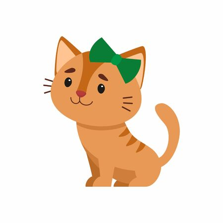 Cute red cat flat vector color illustration. Adorable kitten with green bow on head. Sitting funny domestic animal, kitten. Cartoon pet isolated on white background
