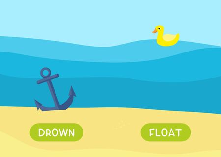 Educational english memo card with antonyms cartoon vector template. Kids flashcards for foreign language learning. Opposites, drown, float words. Cartoon anchor underwater and duck illustration