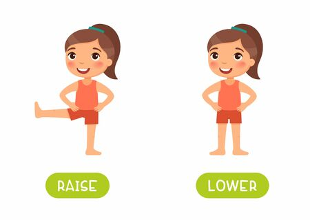 Raise and lower antonyms flashcard vector template. Word card for english language learning with flat characters. Opposites concept. Girl exercising, elevating leg illustration with typography