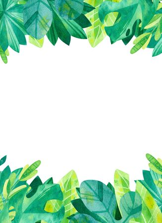 Empty vertical frame with jungle  leaves hand drawn illustration. Tropical exotic leaves border watercolor drawing.  Blank  frame with greens isolated on white background