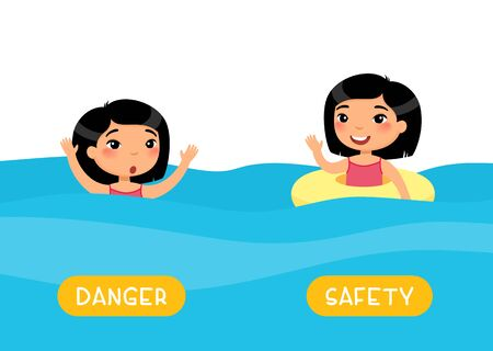 Antonyms concept, SAFETY and DANGER. Flashcard with antonyms for kids vector template. Word card for foreign language studying. Asian girl swimming withand without inflatable ring flat illustration with typography