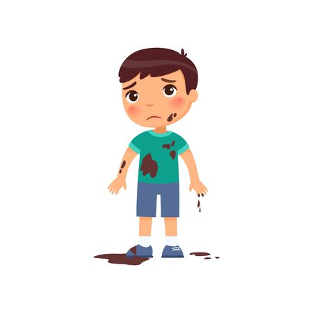 Sad dirty boy flat vector color illustration. Unhappy caucasian toddler in mud. Bad child behavior. Untidy, grubby little child with dark hair cartoon character isolated on white background