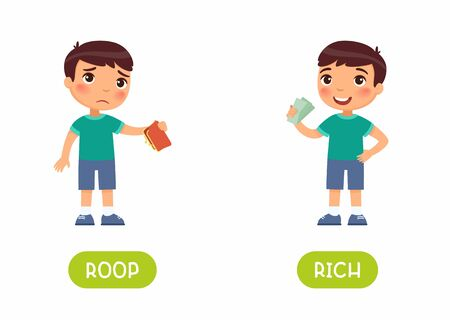 Sad boy with empty wallet and child with money flat illustration with typography. Rich and poor antonyms word card vector template. Flashcard for english language learning. Opposites concept.  Ilustrace