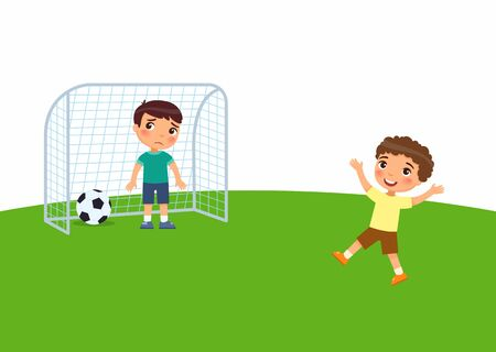 Two little boys are playing soccer flat vector illustration.Child scored a goal and enjoys the win. Kid is sad for losing. Kids playing outdoors cartoon character.  Summer recreation activity.