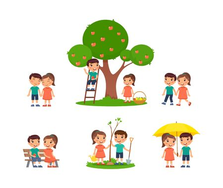 Little boy and girl is spending time in the countryside. The concept of summer fun and friendship. Village holiday, harvesting. Cartoon characters, set of flat vector illustrations