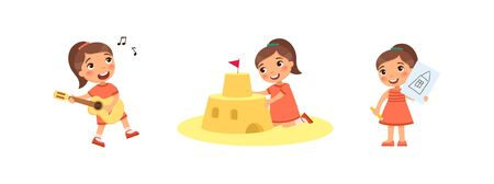 Little cute girl builds a sandcastle, drawings, plays the guitar and sings. Creativity concept. Ð¡hild is having fun and relaxing. Cartoon characters, set of flat vector illustrations Ilustrace