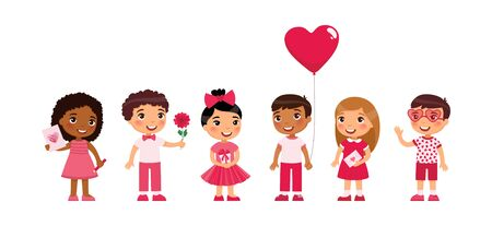 Little boys and girls dating, celebrating Valentines Day flat vector illustration. Young girlfriends and boyfriends isolated cartoon characters set. Children with February 14 presents Ilustrace