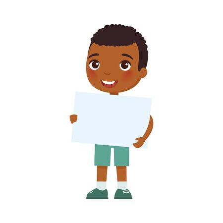 Little smiling boy holding empty banner flat vector illustration. Cute school kid with blank paper sheet in hands isolated on white background. Happy young dark skin kid with poster mock up