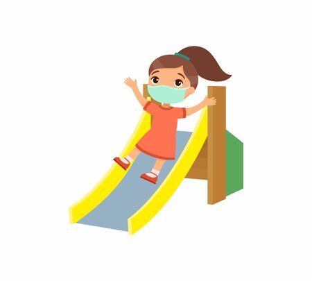 Little girl with face mask slides off a children's slide. Virus protection, allergies concept. Vacation and entertainment on the playground. Cartoon character. Flat vector illustration. Ilustrace